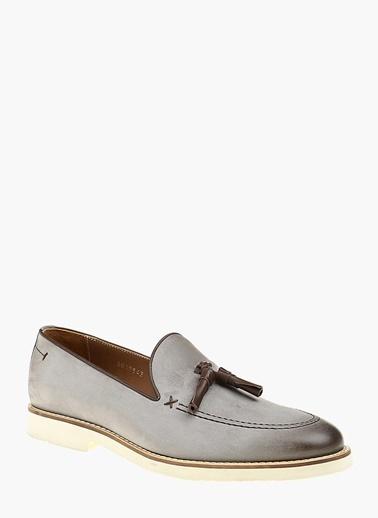 Divarese %100 Deri Loafer Ayakkabı Gri